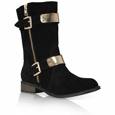 db5b33f07a1f item 3 WOMENS LADIES GOLD METAL TRIM HEEL BUCKLE ZIP SHOES BOOT ARMY PLATED  BLING CALF -WOMENS LADIES GOLD METAL TRIM HEEL BUCKLE ZIP SHOES BOOT ARMY  PLATED ...