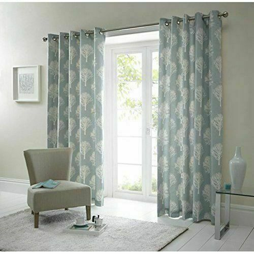 Woodland Trees Duck Egg Eyelet Curtains 46x72 For Sale Online Ebay