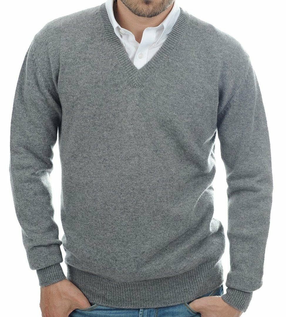 Balldiri 100% Cashmere Herren Pullover V-Ausschnitt 4-fädig grau L