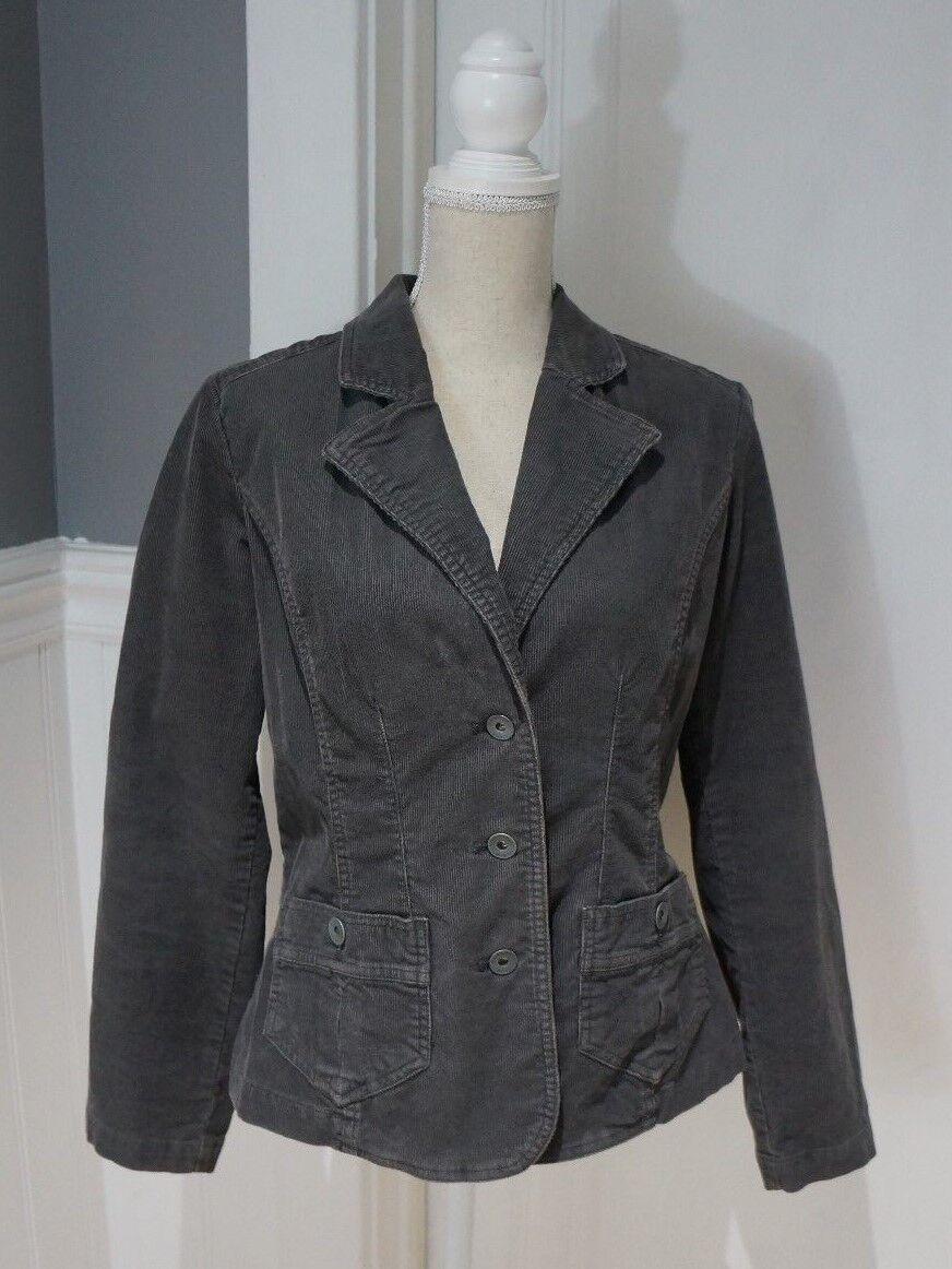 BASS Jeans Women's Sz M Solid Brown Stretch Corduroy 3-button Jacket