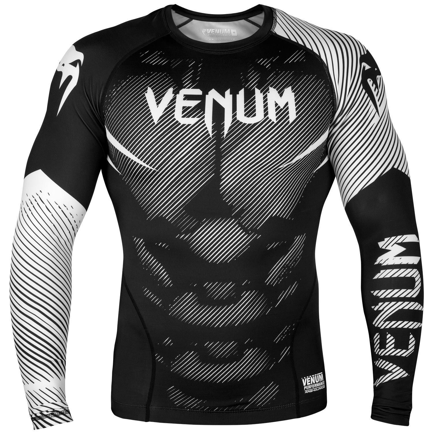 Venum No Gi Rash Guard Long Sleeve White BJJ Training Tops T Shirt Gym MMA Nogi