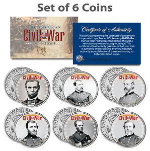 American-CIVIL-WAR-North-UNION-LEADERS-Kennedy-Half-Dollars-U-S-6-Coin-Set