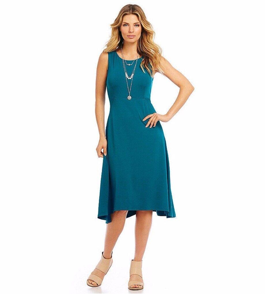 Eileen Fisher Viscose Jersey Bateau Neck Knee Length Dress Jewel XS NWT