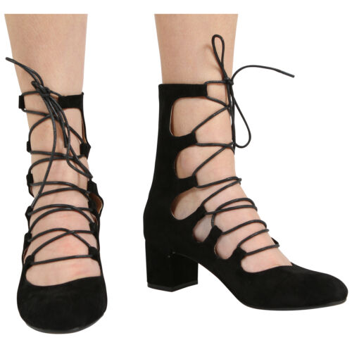 NEW WOMENS LADIES ZIP UP MID BLOCK HEEL CUT OUT LACE UP ANKLE SANDAL SHOES S 3-8