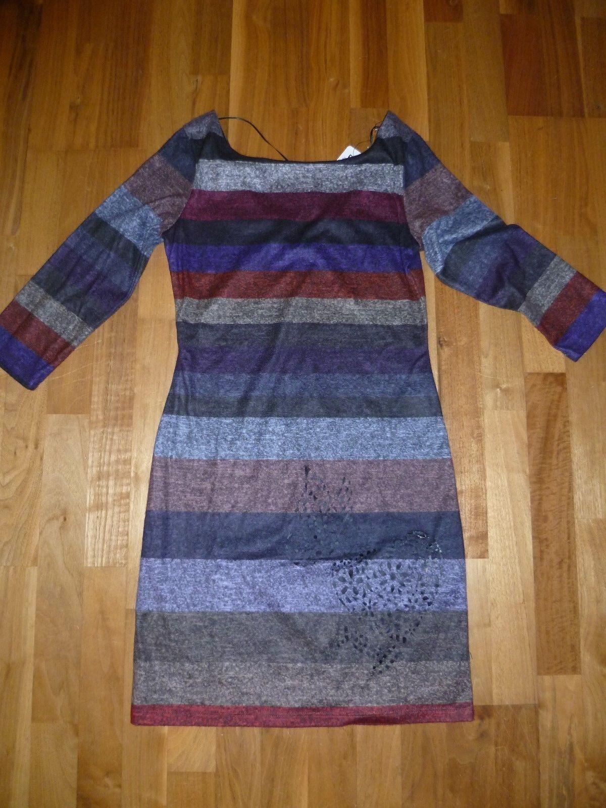 Ungetragenes bunt gestreiftes (lila-grau-Töne) Kleid von Desigual  in Gr. S