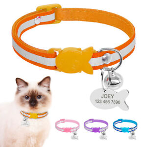 Cat-Collar-Breakaway-Personalized-Safety-Reflective-Kitten-Collar-with-Bell