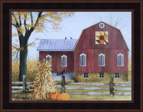 AUTUMN LEAF QUILT BLOCK BARN by Billy Jacobs 15x19 Framed Picture Corn Shock HCD