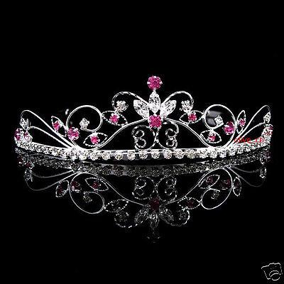 Beautiful Butterfly Flower Wedding Prom Red Crystal Bridal Girl Tiara Headband