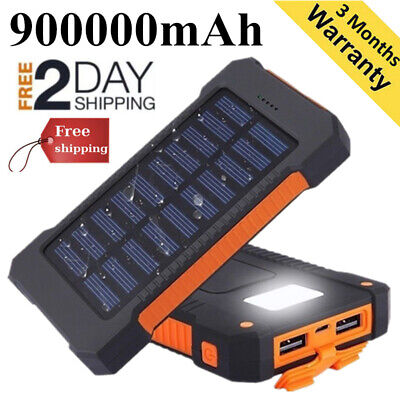 Waterproof 300000mAh Solar Power Bank 2USB Battery Portable Charger uk  samsung
