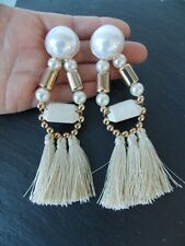 Cream and Pearl Over-Sized Tassel Statement Earrings -UK SELLER