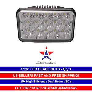 """4x6/"""" inch 15 LED Headlights CREE HID Replace H4656//4651 High//Low Beam 45W-Qty1"""