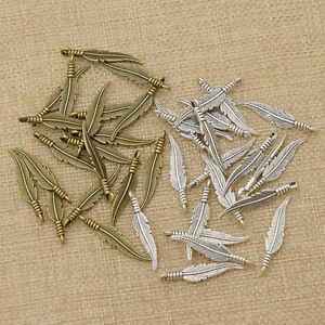 1-Set-Alloy-Feather-Charm-Pendant-Vintage-Silver-DIY-Jewelry-Bracelet-Necklace