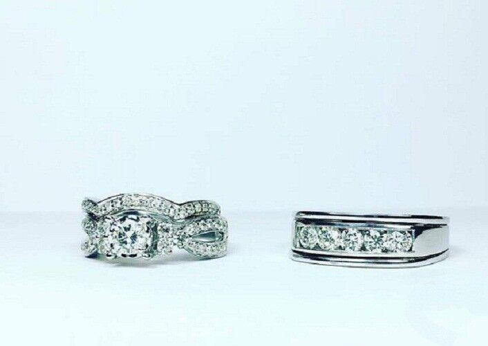 Trio Wedding Ring Set 2.00CT White gold Plated Round Cut White Diamond His & Her