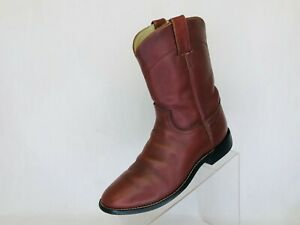 JUSTIN-Brown-All-Leather-Roper-Cowboy-Western-Boots-Youth-Size-5-5-D-Style-3000Y