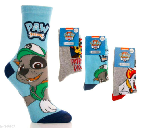 31-34 Paw Patrol Chaussettes Taille 12.5-2 3 Paires Chase ROCKY /& MARSHALL OFFICIAL