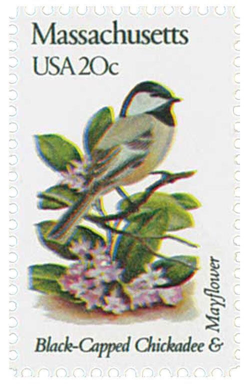 1982 20c State Birds & Flowers, Massachusetts, Mayflowe