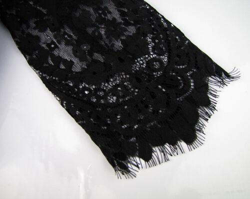 Femmes Dames Deep V Neck manches longues dentelle transparente Bodycon Maxi robe