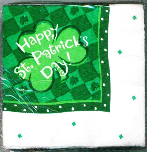 HAPPY ST PATRICK/'S DAY LUCKY SHAMROCK 24 BEVERAGE NAPKINS PARTY EXPRESS HALLMARK