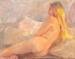 Reclining-Blond-Female-Nude-11x14-oil-on-canvas-original-Margaret-Aycock-signed
