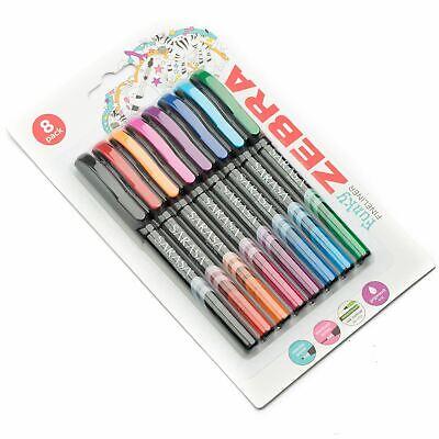 Zebra Sarasa Porous Fineliner pen 0.8mm assorted pack of 8 different colours