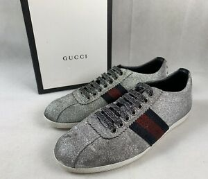 3b4b5b06691  750 Gucci Bambi Silver Glitter Sneakers w Web Gucci Stripe 7.5 US ...