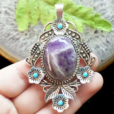 LL1747 Beautiful Tibetan Silver Wrapped Natural Amethyst Pendant Bead