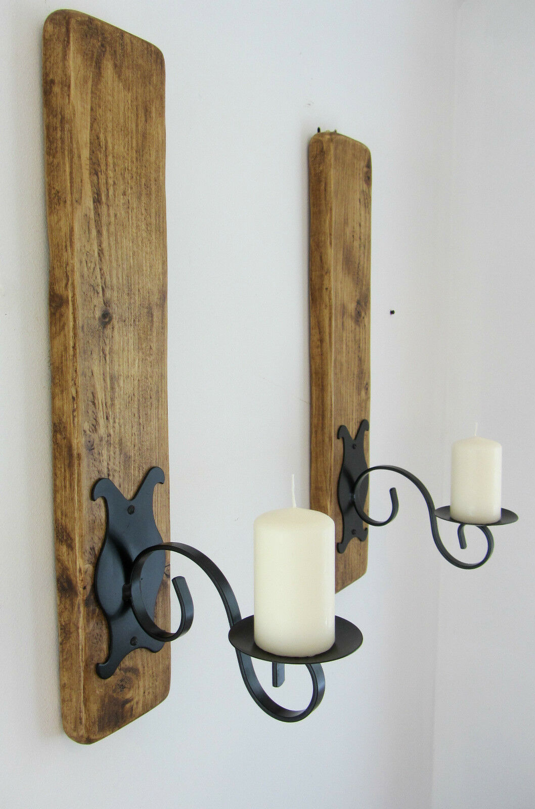 PAIR OF 59CM RUSTIC PLANK WOOD & IRON WALL SCONCE'S CANDLE HOLDERS