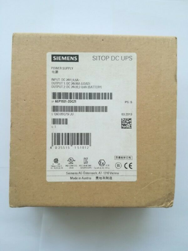 Siemens SITOP Module 24 V USC DC /6 A Uninterrupted Power supply 6EP19312DC21 6EP1931-2DC21