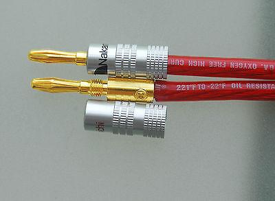 New 12 pcs 24K Gold Nakamichi Speaker Banana Plug Audio Jack Connector + US Ship