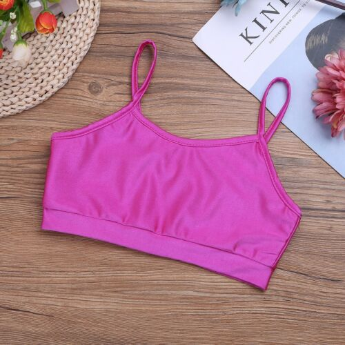 Girls Athletic Outfit Ballet Dance Crop Top+Bottoms Kid Gym Workout Fitness Wear