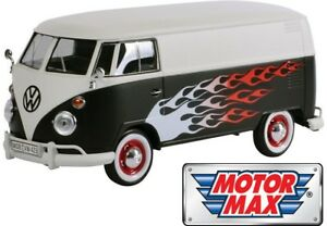 1-24-Volkswagen-VW-Type-2-T1-Delivery-Van-Hot-Rod-Black-w-White-by-Motor-Max