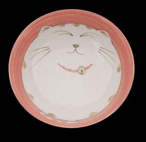 Gran-Cuenco-Gato-Japones-Maneki-Neko-19-CM-Rosa-Porcelana-Del-Japon-Import-40653