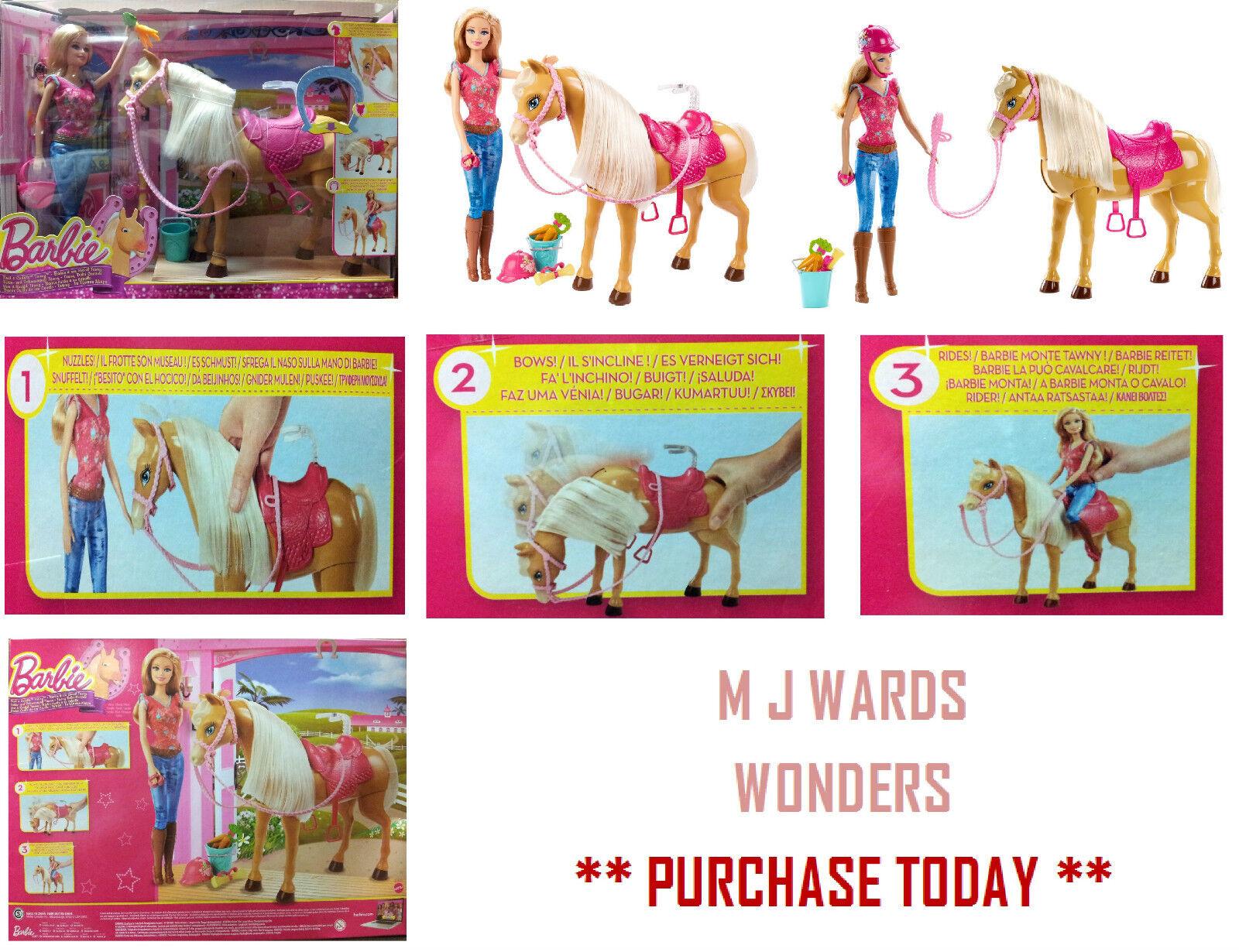 Barbie de alimentación y abrazar Leonado caballo Y Conjunto de Juego De La Muñeca BJX85   Gran Regalo