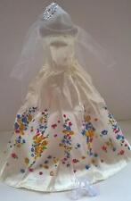 Barbie Fashion Doll Wedding Dress Veil Necklace Crystal Shoes Clothes Bundle