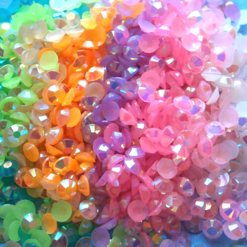 2000Pcs Half Round Acrylic Faceted Crystal Flat Back 3mm Gems Beads Crafts 12g