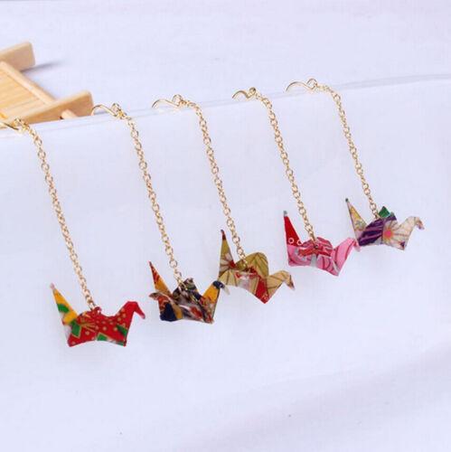 1 par de aretes de origami grúa Colgantes gota colgante cadena larga elegante Gancho para la oreja