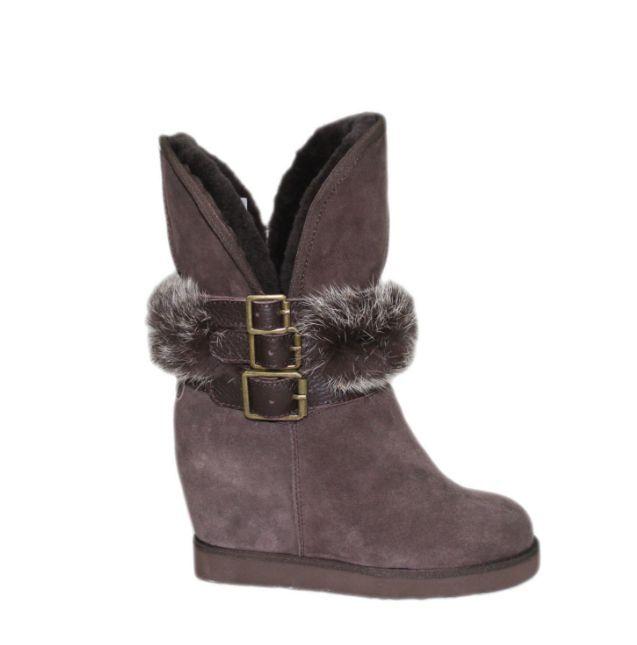 Australia Luxe Collective Hatchet Wedge Boot With Rabbit Fur