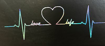 Love Life Heart Monitor Heartbeat Rainbow Holographic Car Decal Sticker 10-86