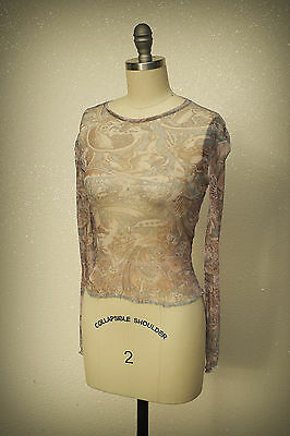 XOXO Sheer Mesh Top Vintage 1980s Unique Couture Level Design Long Sleeves Small