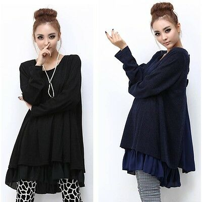 New Womens Long Sleeve Shirt Maxi Casual Loose Dress Large Size Boho Skirt 4XL