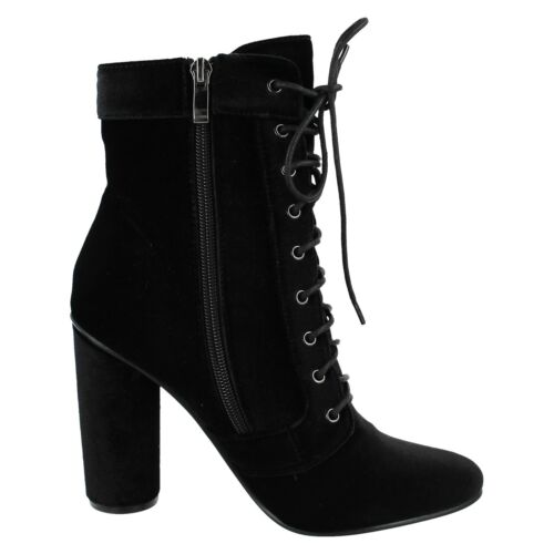 LADIES WOMENS SPOT ON LACE UP ZIP UP BLOCK HEEL CASUAL VELVET ANKLE BOOTS F50700