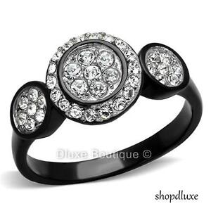 1-35-CT-HALO-ROUND-CUT-CZ-BLACK-STAINLESS-STEEL-ENGAGEMENT-RING-WOMEN-039-S-SZ-5-10