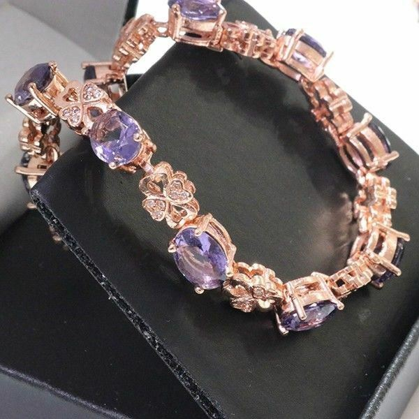 Sparkling Oval Amethyst Bracelet Women Wedding Jewelry 14K pink gold Plated