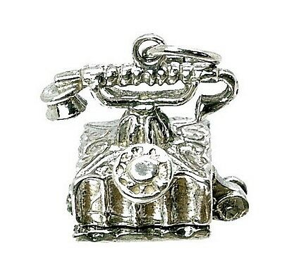 VINTAGE SILVER OPENING ANTIQUE TELEPHONE CHARM