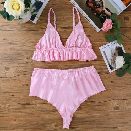 Satin Frilly Sissy Panties Bikini Knickers Underwear Briefs Bikini Bra Lingerie