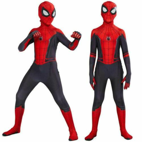 Spider Man Into the SuperHero Costume Kids Miles Morales Cosplay Zentai Suit