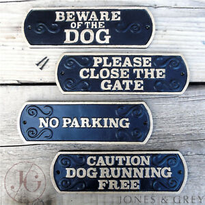 Vintage Style Metal Black And Gold Warning Pet Dog Wall