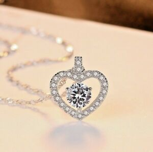 Heart-Crystal-Pendant-925-Sterling-Silver-Chain-Necklace-Womens-Jewellery-Gift