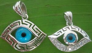 100-REAL-sterling-silver-BLUE-EVIL-EYE-TURKISH-Protection-pendant-925-stamped