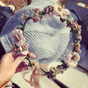 Women-Wedding-Party-Flower-Hair-Garland-Crown-Headband-Floral-Hairband-Decor-AU